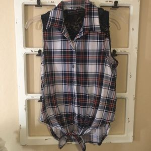 Polly & Esther blue plaid sleeveless tie shirt